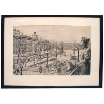 Crayon Noir, Balcon Sur La Seine Par O. Heindbrinck