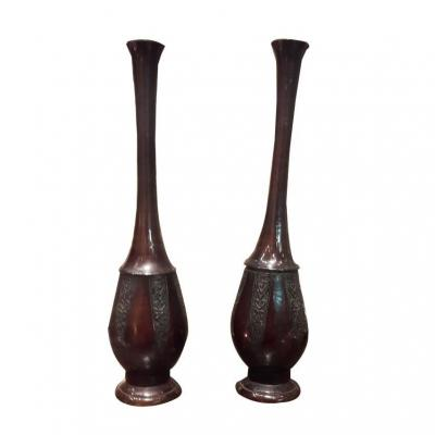 A Pair Of Bronze Soliflore
