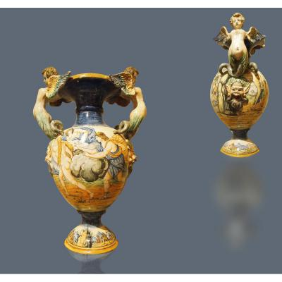 Great Pair Of Vases Of Urbino, Mid 19th