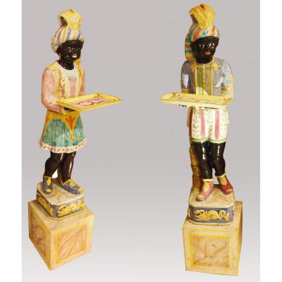Pair Of Characters In Faience, Late 19th Century