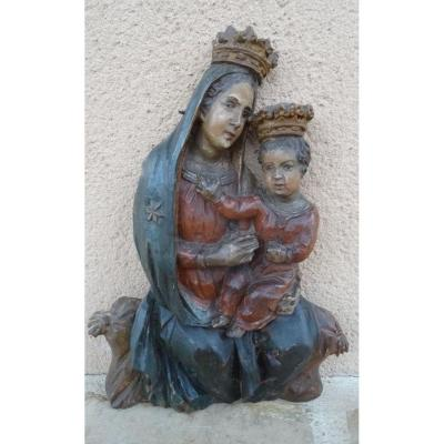 An Applique Statue, Madonna And Child