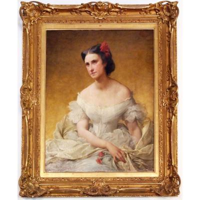 An Oil On Canvas, Portraot Of Woman By Adélaïde Salles-wagner