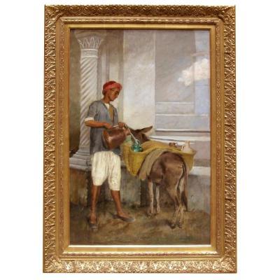 Une huile sur toile Porteur De Jarre Et Son âne