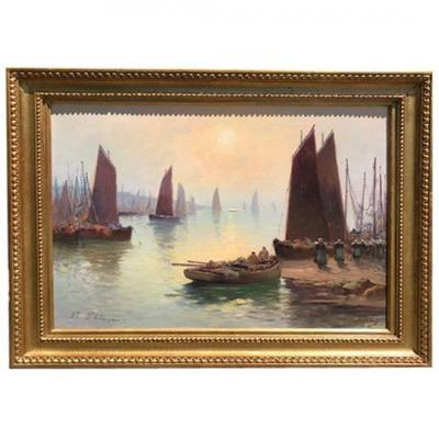 Oil On Canvas, Port Animated By Paul Philippe