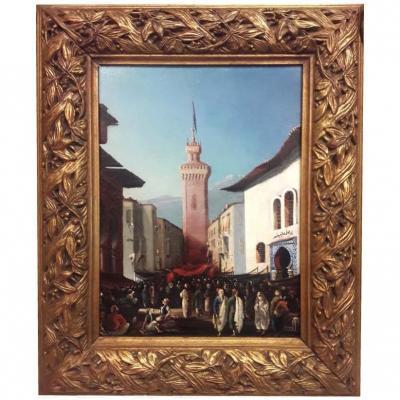 Phuile Sur Panneau Porte De Marrakech Signée Albert Loui