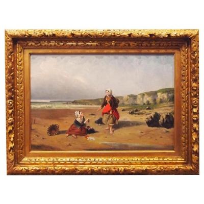 Oil On Canvas, Bretonne, Young Girl On Sea Side