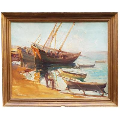 Oil On Canvas, Back From Fishing, By Gaston Parison