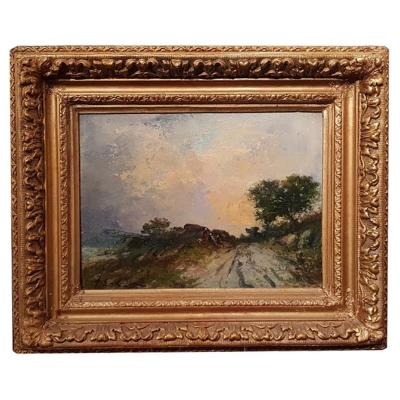 Oil On Cardboard, Landscape And Sunset By Karnec