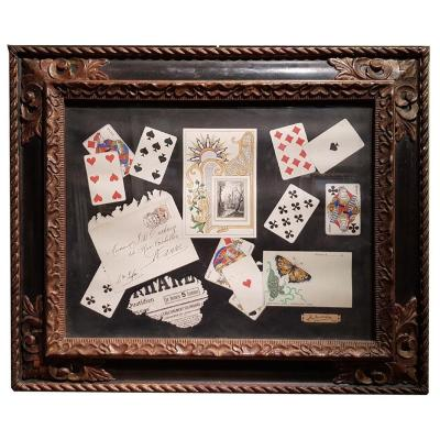 A Gouache, Trompe l'Oeil With Cards Signed C Sutterlind