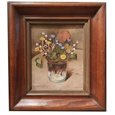 An Oil On Cardboard Bouquet Of Flower In A Vase By A. Ostrom