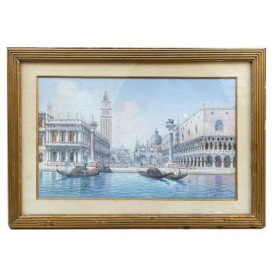 Aquarelle De Venise Par Umberto Ongania