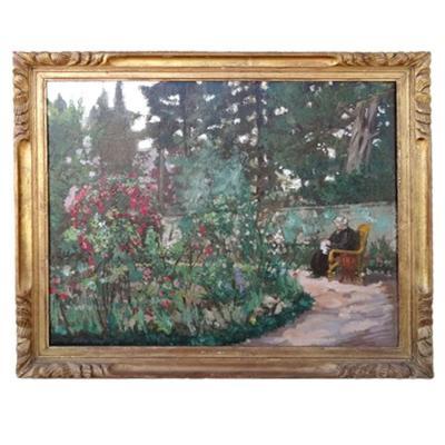 Personnage assis dans un jardin , Signé R.r Messine