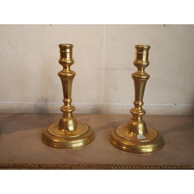 A Pair Of Gilt Bronze Candlesticks, Louis XIV Period