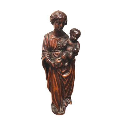 Une Petite Vierge A l'Enfant En Bois, 17eme