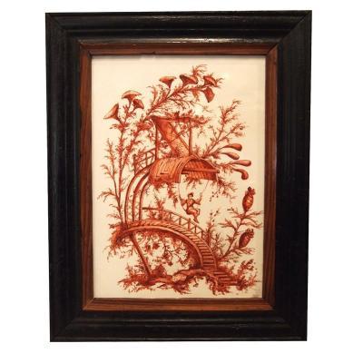 Plaque En Porcelaine émaillée avec un décor de chinoiseries
