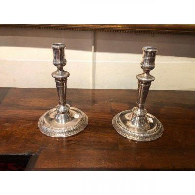 Pair Of Louis XIV Plated Candlesticks