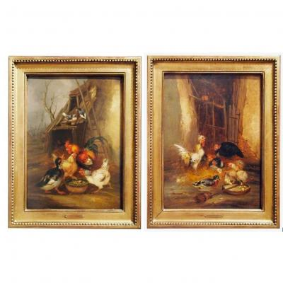 A Pair Of Oil On Panel Basse Cour By Claude Guilleminet