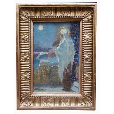 """Oil On Panel """"personnage Au Clair De l'Une"""", By Emile Jean Marie"""