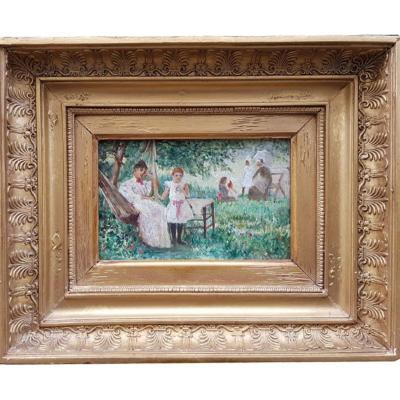 An Oil On Canvas Of Figures Sitting In A Nineteenth Garden