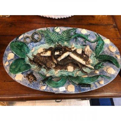 A Large Oval Dish In Snake Decor, Palissy Inspiration, From The End Of The XIXth