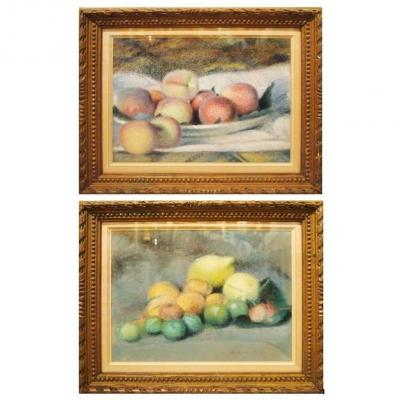 A Pair Of Still Lifes Dated From 1928 By Edouard Degaine