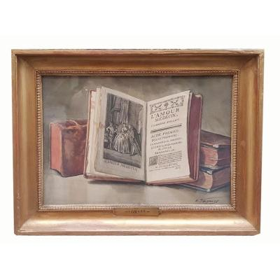 A Still Life Watercolor In A Book By Emile Vaquez