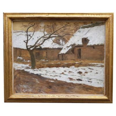 An Oil On Canvas, Of An Effect Of Snow In Villerville By Emile Barau.