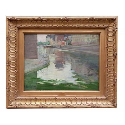 Oil On Cardboard, Canal De La Vilette By Rodolphe Bolliger