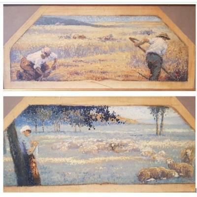 Pair Of Pointillist Oils, Studies Of The Peasant World