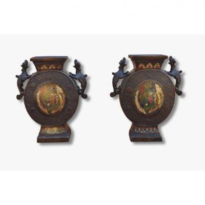 Paire De Vases Cloisonés, Japon, 1900
