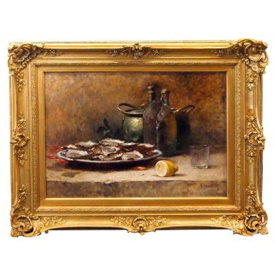 Oil On Canvas, Still Life With Huites By Rl Chretien