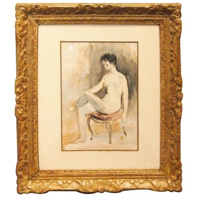 Watercolor And Feather, Nude By Paul Belmondo