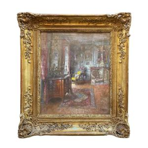Large Interior Painting Early 20th Century By Paul-françois-marie Urtin