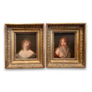 Pair Of Oils On Bacchantes Panel By Jacques Antoine Vallin, 19th Century