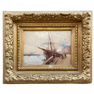 Oil On Pannel Marine Animated With Boat By Galien-laloue