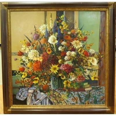 Robert Vernet Bonfort : Nature morte au bouquet