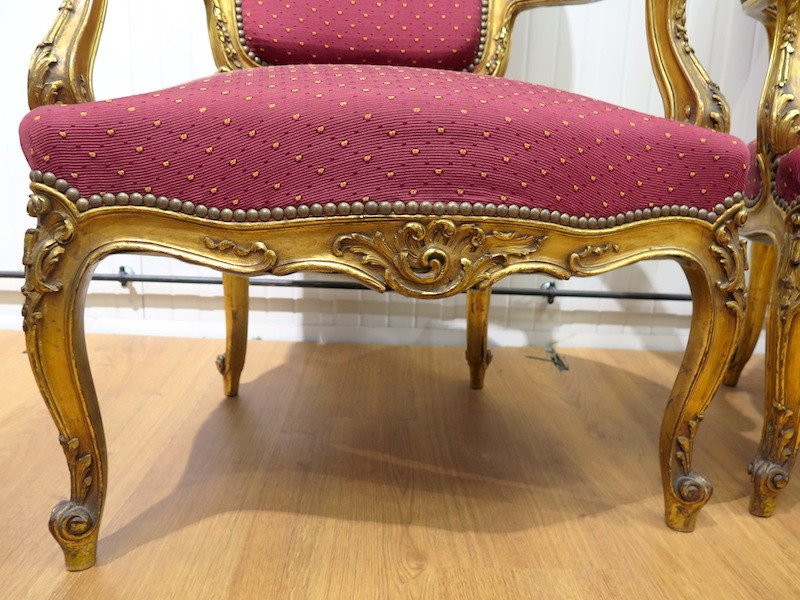 Pair Of Gilt Wood Armchairs - Louis XV Style-photo-1