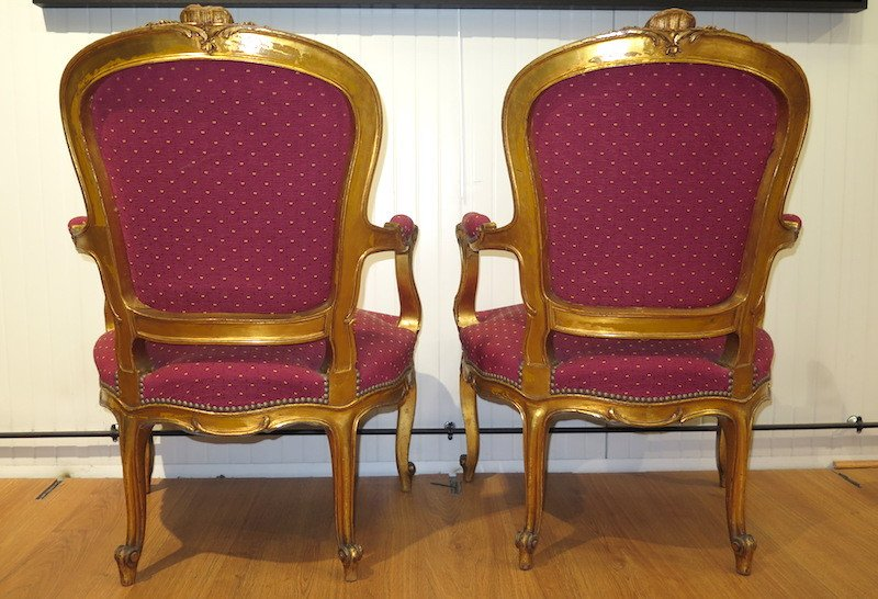 Pair Of Gilt Wood Armchairs - Louis XV Style-photo-5