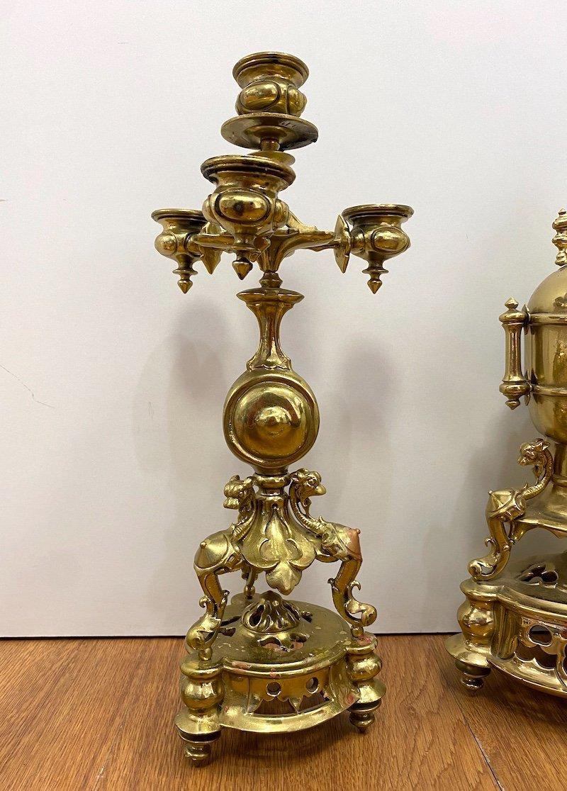 Napoleon III Period Garniture In Gilded Bronze-photo-2