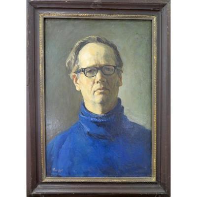 Russian School: Self-portrait In Blue