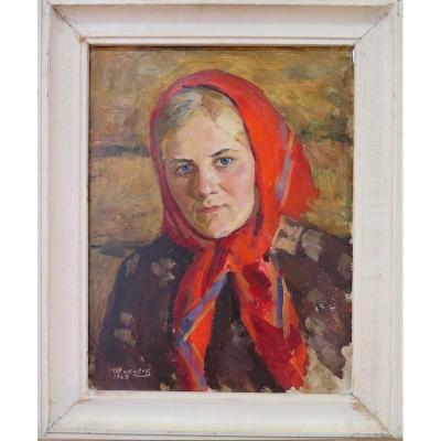 Ecole Russe: Femme au foulard rouge, 1963