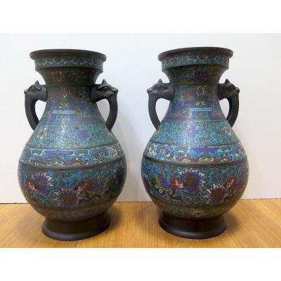 Pair Of Asian Cloisonne Vase Early Twentieth