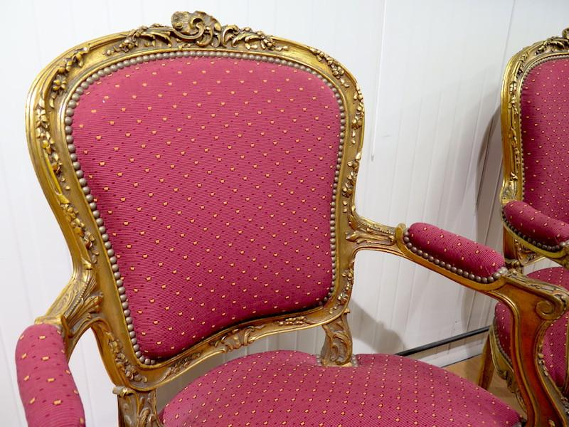 Pair Of Gilt Wood Armchairs - Louis XV Style-photo-2