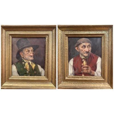 Fritz Schluckmuller (XIX - XXème) - Paire d'huile sur toile
