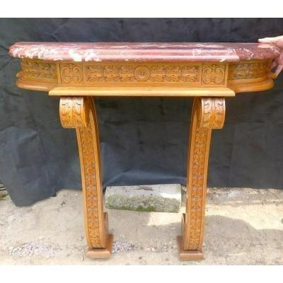 Console In Wood And Marble