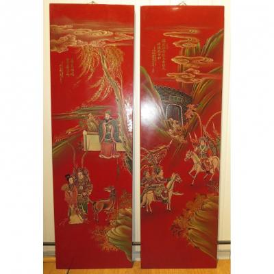 Chinese Panels In Red Lacquer