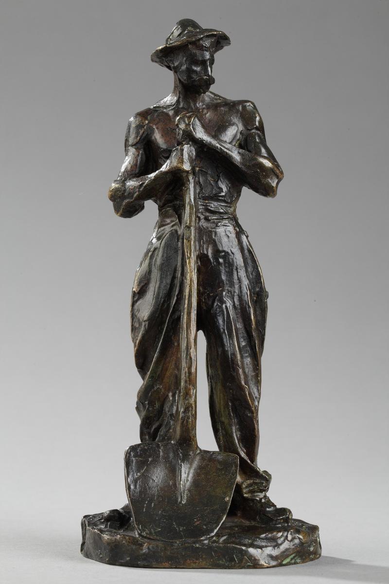 Terrassier Appuyé Sur Une Pelle - Aimé-jules Dalou (1838-1902)