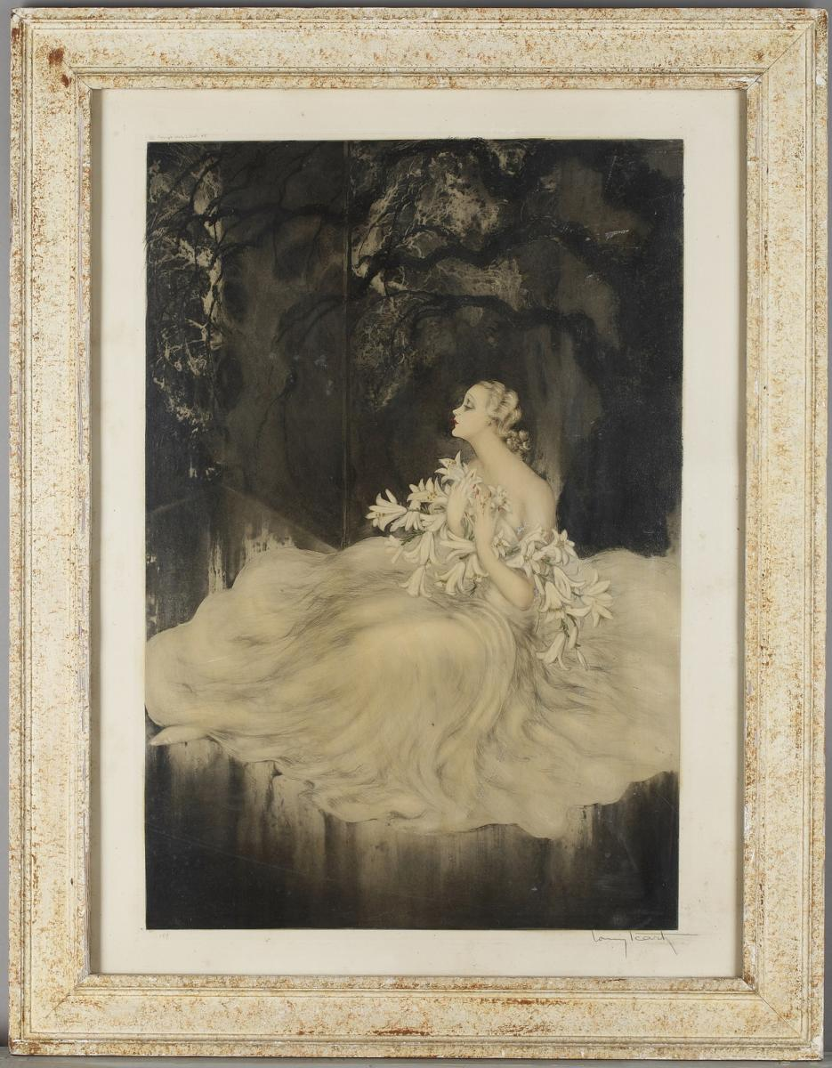 The Lady With Lillies - Louis Icart (1888-1950)