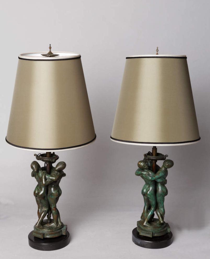 Paire de lampes Les Grâces - Antoine-Louis BARYE (1796-1875)