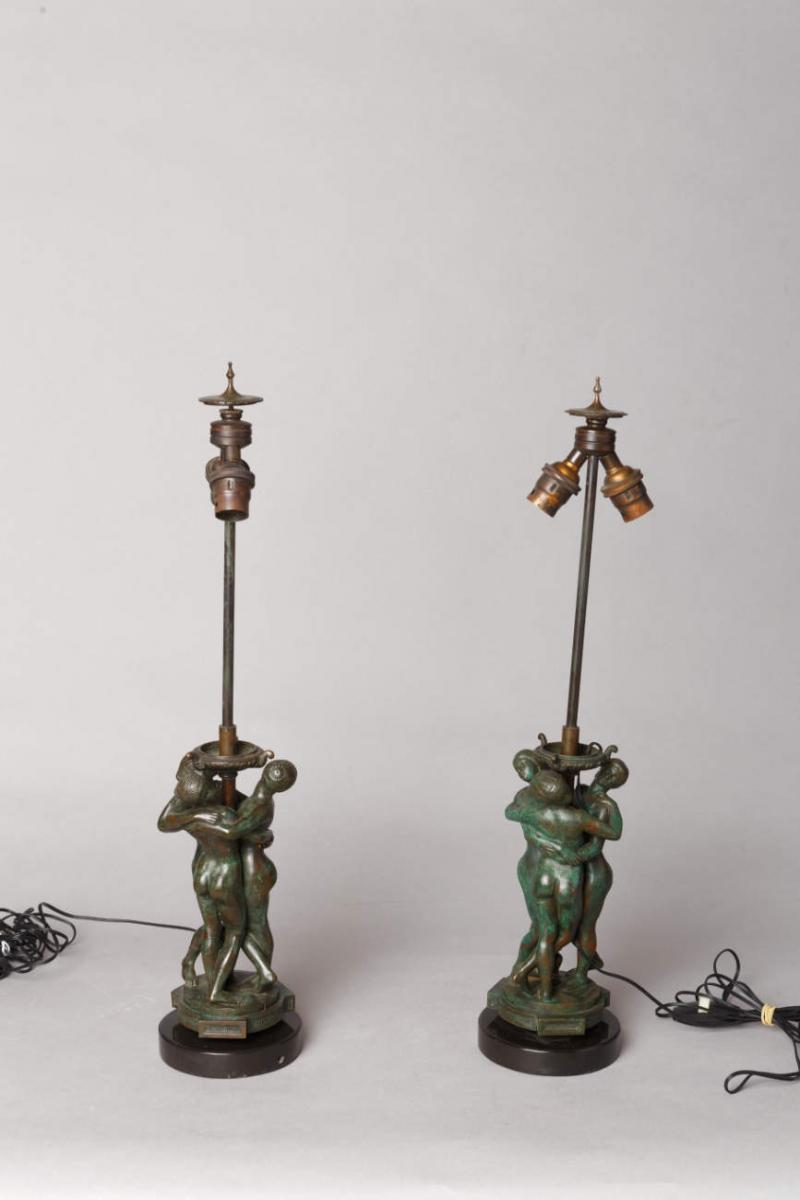 Paire de lampes Les Grâces - Antoine-Louis BARYE (1796-1875)-photo-2